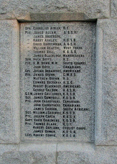 Dalbeattie War Memorial, Great War Names