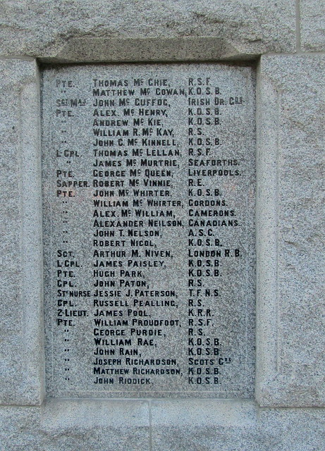 War Memorial, Dalbeattie, More Great War Names