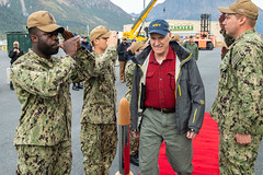 Sideboys salute as Secretary of the Navy (SECNAV) Richard V. Spencer approaches USS Comstock (LSD 45) for a visit as part of Arctic Expeditionary Capabilities Exercise (AECE) 2019, Sept. 17. (U.S. Navy/MC2 Nicholas Burgains)
