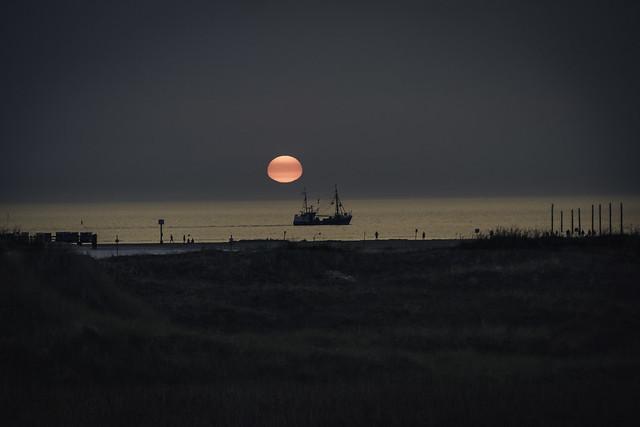 sundown with trawler