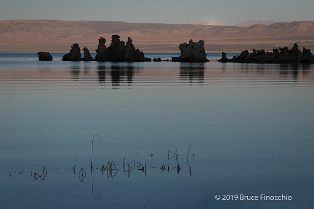 Quite And Reflective Mono Lake At Sunset