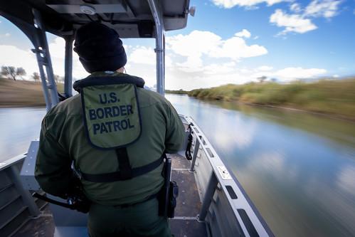 Yuma Sector Border Patrol Agents patrol the Colorado River near Yuma, AZ