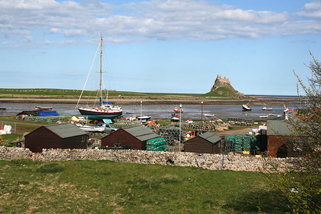 Lindisfarne Castle and harbour