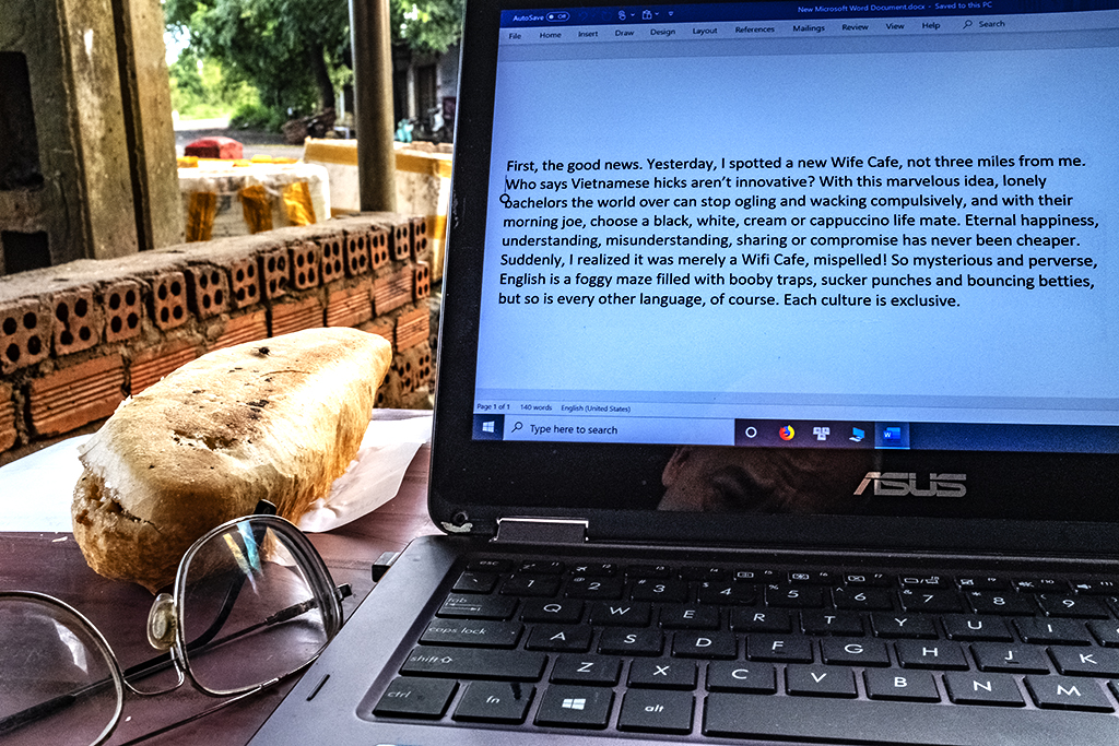 Writing at Mrs Thai's banh mi stand on 9-19-19--Ea Kly