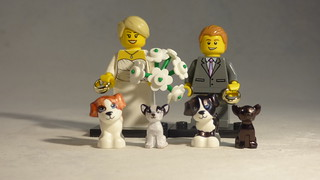 Brick Yourself Custom Lego Minifigure - Happy Newlyweds with 4 Custom Dogs | by BrickManDan
