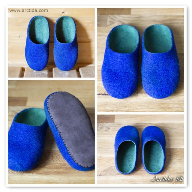 Felted wool slippers for children Blue slippers merino wool.