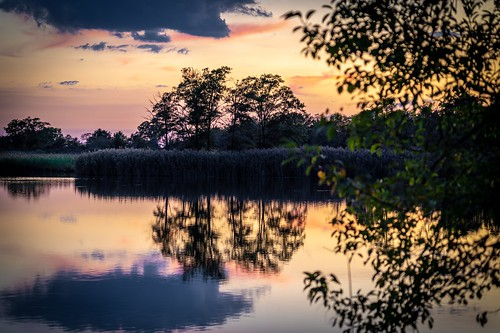 water pond sunset reflection