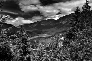 A View to Ross Lake and Mountains Beyond (Black & White, North Cascades National Park Service Complex)