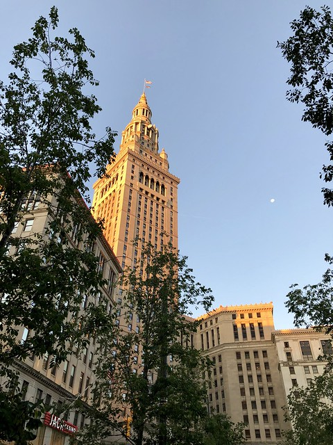 Cleveland, tower and moon.