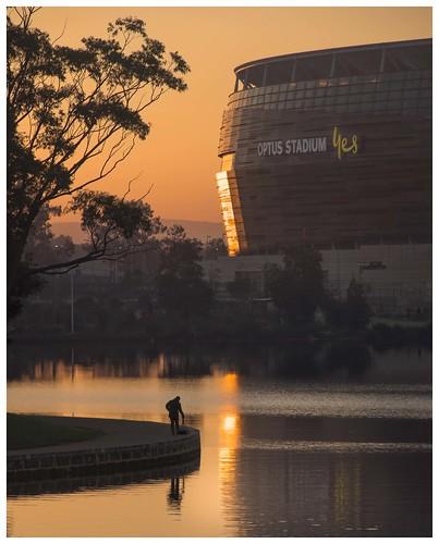 perthstadium swanriver morning sunrise