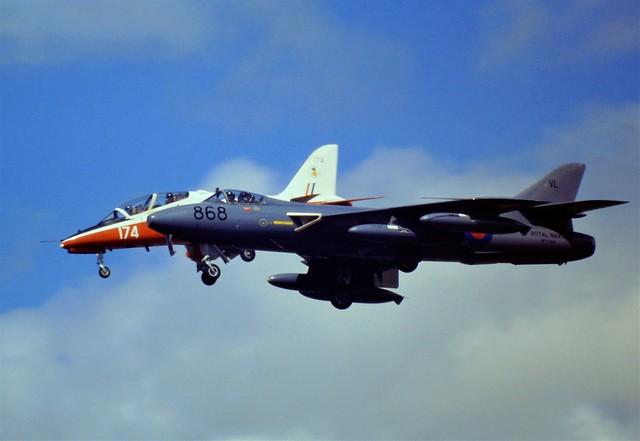 Hunter GA-11 WT744/VL-868 FRADU Royal-Navy and Hawk T-1A XX174/174 4FTS RAF. RAF Fairford, July 1991 (IAT).