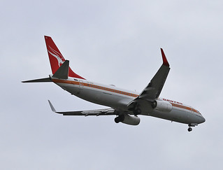 Qantas' Boeing 737-838(WL), VH-XZP  'James Strong', about to land in Sydney Airport (Sporting 'Retro Roo' livery)