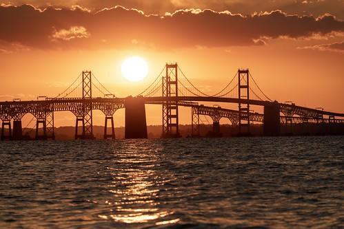 maryland bridge chesapeakebay sunset