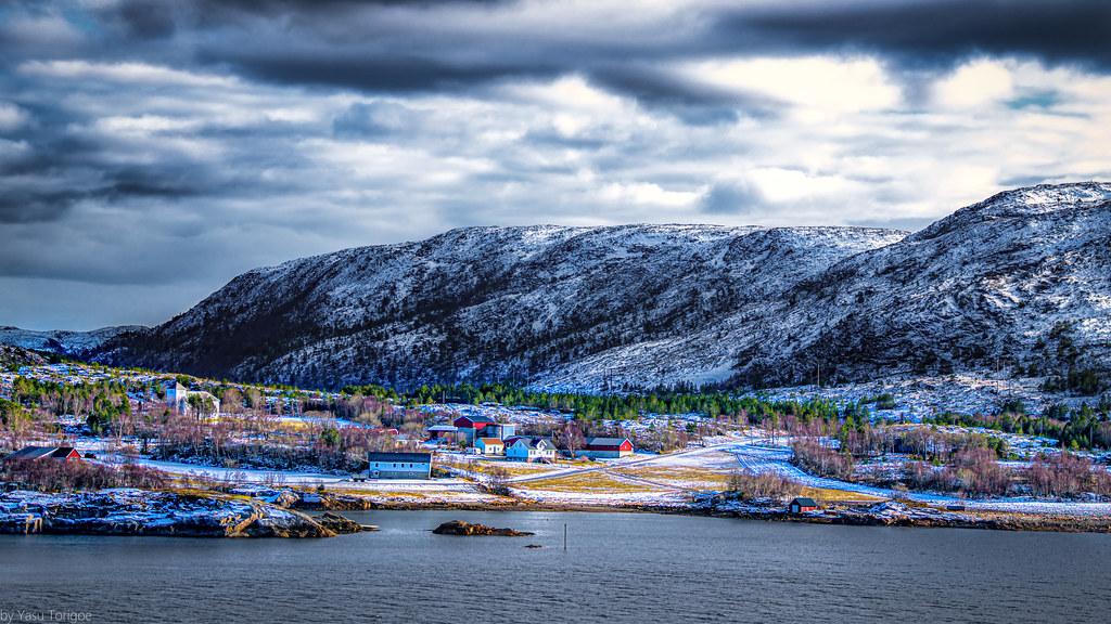 View of a small village  of Torstad along the Nærøysundet strait, Norway-11a
