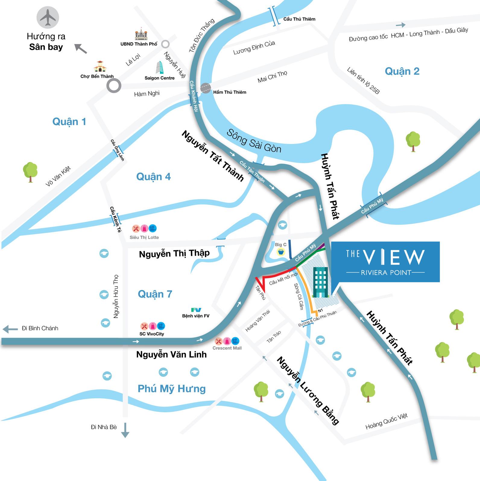 Bản đồ vị trí căn hộ The View quận 7 tại Riviera Point (Keppel Land).