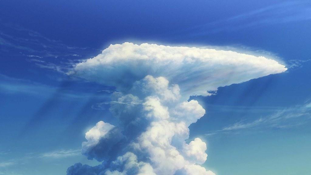 《天氣之子》劇照,積雨雲的特色為圓柱狀,通常伴隨強降雨。圖片來源:IMDb積雨雲。