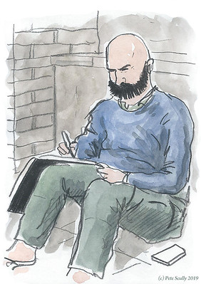 London urban sketcher bearded sm