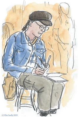 London urban sketcher with hat sm