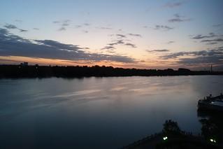 Sunrise at Hilton Danube waterfront Vienna, 19 September 2019.  Sony RX100M3.