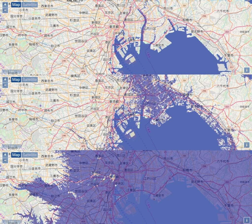 海平面高度對東京都的影響,上而下分別為現況、上升5公尺、上升50公尺。圖片來源: