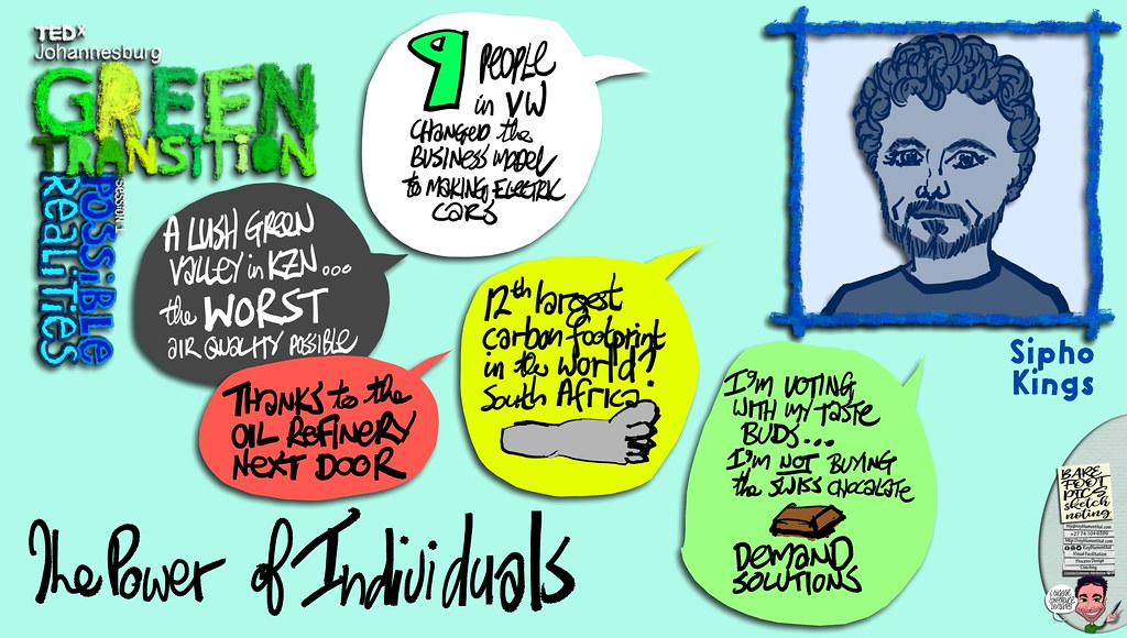 #TEDxJohannesburg #GreenTransitions #Sketchnotes Session 1 — 05 Sipho Kings