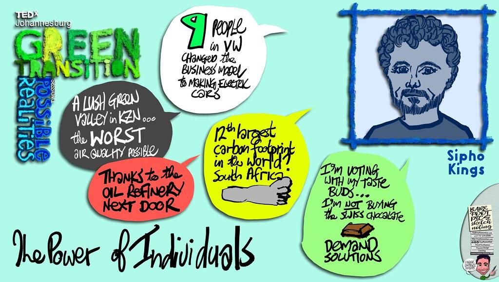 #TEDxJohannesburg #GreenTransitions #Sketchnotes Session 1 — 05 Sipho Kings