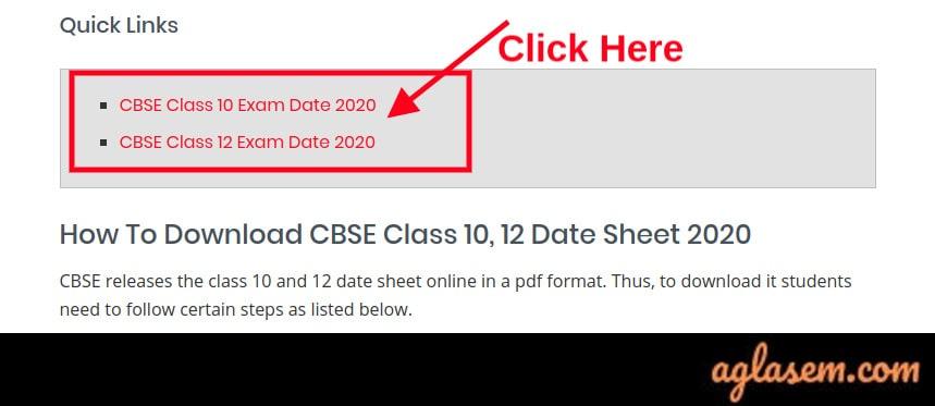 CBSE Date Sheet 2020