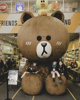 Henry, Ezra and Jen with a very large bear, Seoul, South Korea-49