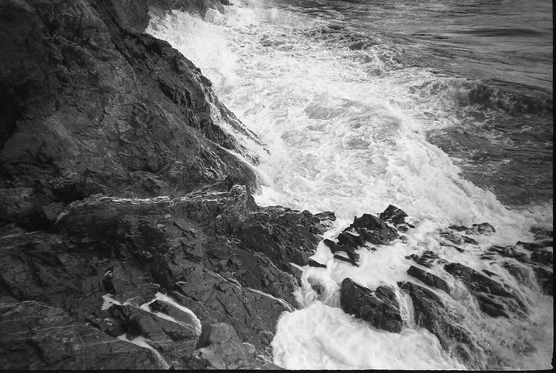 looking down, rocky shoreline, surf, Owl's Head State Park, Owl's Head, Maine, Nikon SmileTaker (RF10), Derev Pan 400, HC-110 developer, 9.7.19 (1 of 1)