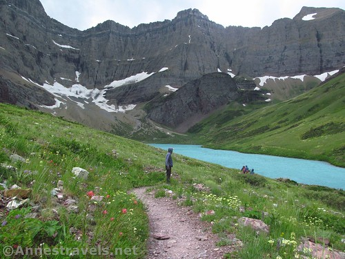 Walking along the path beside Cracker Lake, Glacier National Park, Montana
