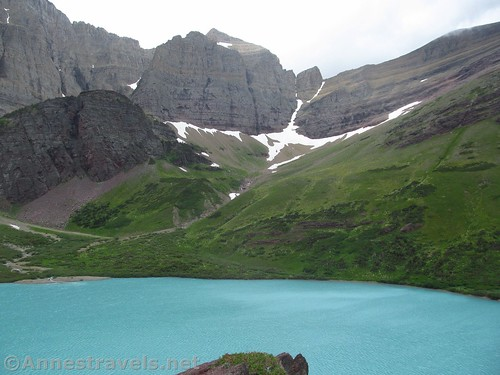 Views from the rock outcrop over Cracker Lake, Glacier National Park, Montana
