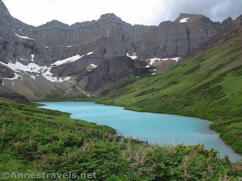The first overlook of Cracker Lake, Glacier National Park, Montana
