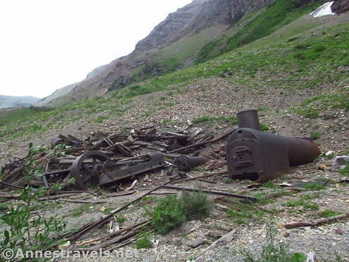 Some of the old machinery from the Cracker Mine at the head of Cracker Lake, Glacier National Park, Montana