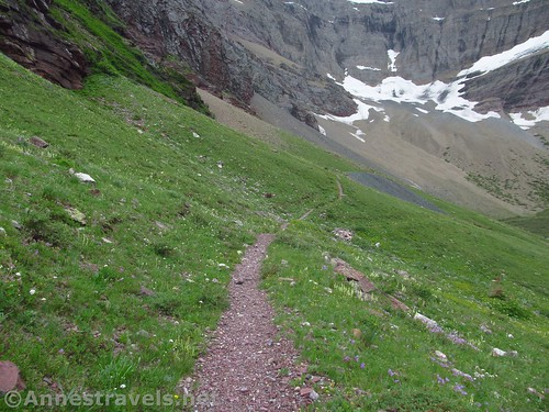 Heading for the Cracker Mine (dark gray in the meadow are mine tailings), Glacier National Park, Montana