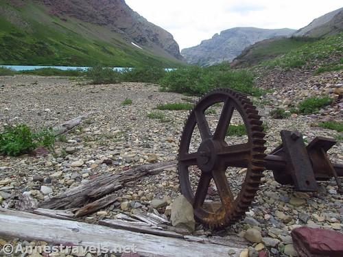 Gear off old mining equipment at Cracker Lake, Glacier National Park, Montana