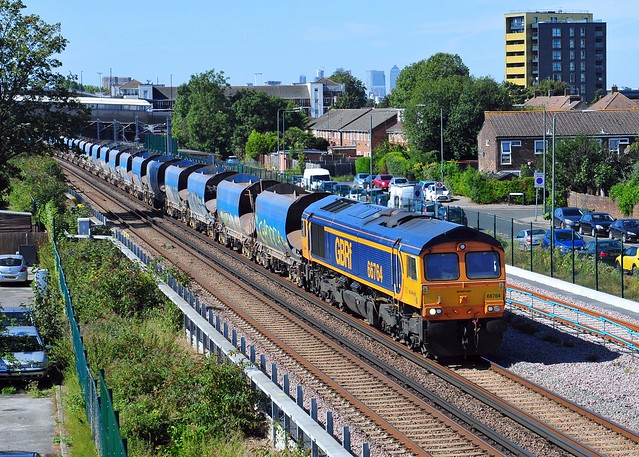 66764 heads through Thamesmead with the 6M79 12.01 Angerstein Wharf to Bardon Hill working on 13-9-19. Copyright Ian Cuthbertson