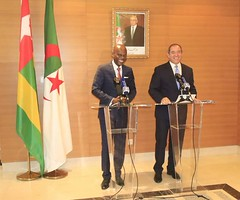 @rdussey : My day started with bilateral meeting in #Algiers. My brother @Boukadoum, Minister of Foreign Affairs of #Algeria and I have talked about (private sector engagement, Diplomatic visa exemption.political consultation, signature of M.O.U...#Togo h