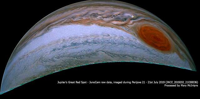 Jupiter & Great Red Spot - JUNOCAM Data