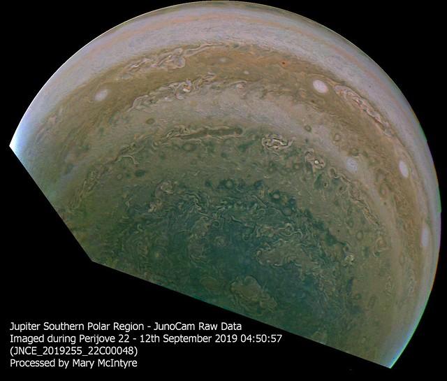 Jupiter Southern Polar Region - JUNOCAM Data