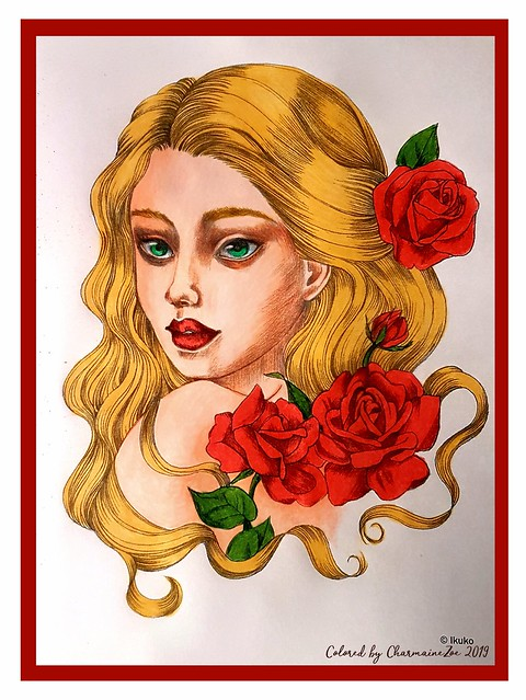 Elegant Faces Colouring Book by Ikuko