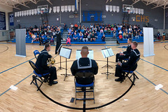 "The U.S. Pacific Fleet Band ""Harbor Brass"" quintet performs at Cordova High School, Sept. 13. (U.S. Navy/MCCS Brandon Raile)"