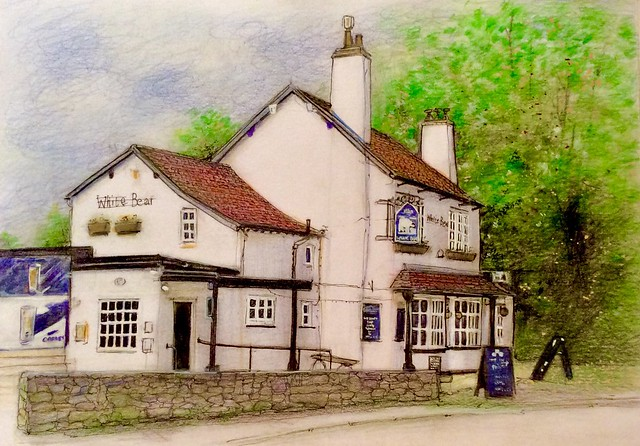 The White Bear. Last stage of 4. Coloured pencil drawing on white card by jmsw.highlights in Gouache.