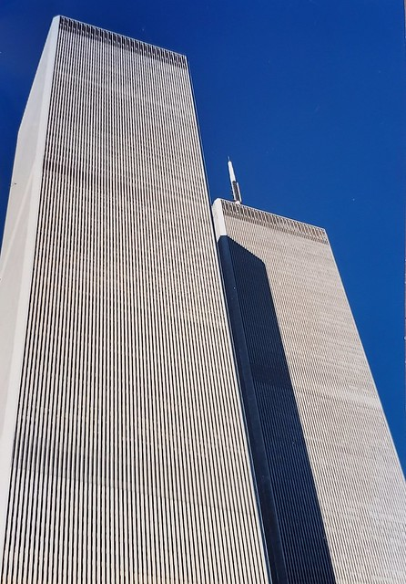 The Twin Towers of the World Trade Center in New York City.  Scan of a print taken in the early 1990's.