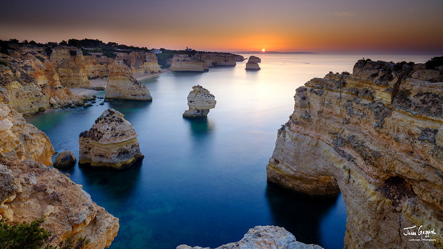 Sunrise over Faro and the Algarve from near Plaia da Marinha, Portugal
