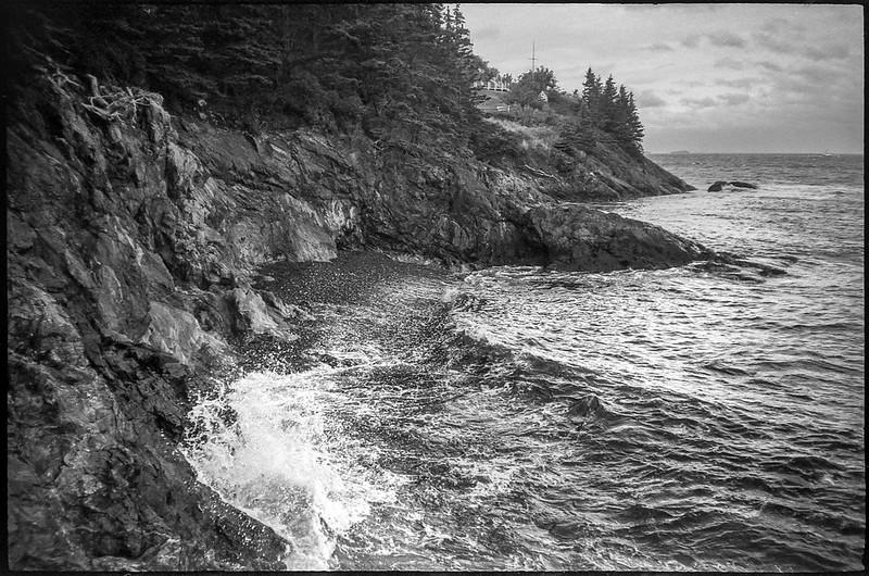 bluffs, rocky outcroppings II, Atlantic Ocean, Owl's Head, Maine, Nikon SmileTaker (RF 10), Derev Pan 400, HC-110 developer, 9.7.19