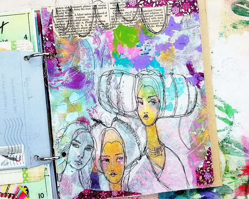 Art Journal Page with JD napkins
