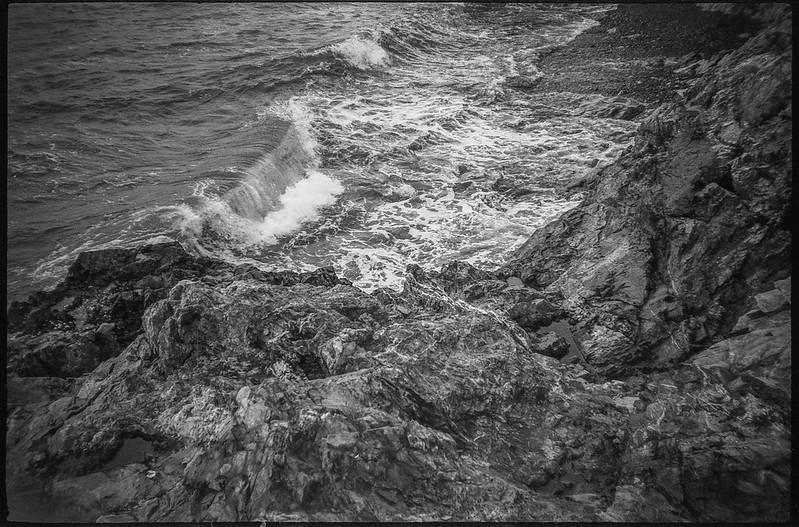 crashing surf, rocky shoreline II, Atlantic Ocean, Owl's Head, Maine, Nikon SmileTaker (RF 10), Derev Pan 400, HC-110 developer, 9.7.19 (1 of 1)