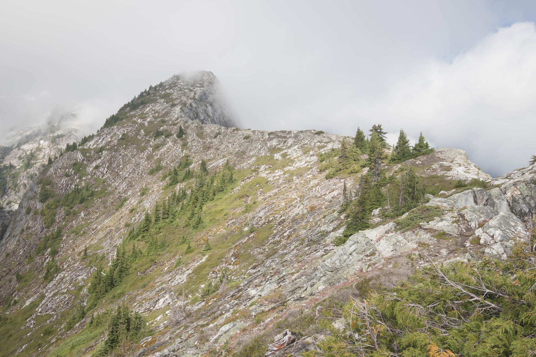 Connecting ridgeline to X Mountain