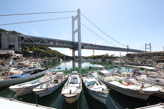 Harbor and the suspension bridge