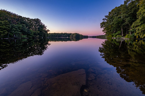 lake reflection rocks statepark sunset waterscape ashland ma unitedstates